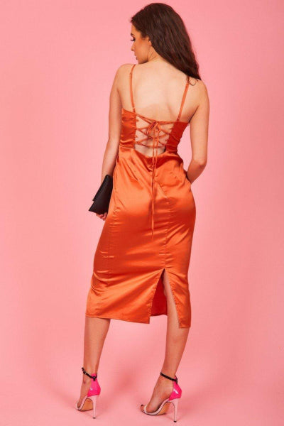 Burnt Orange Satin Midi Dress - KATCH ME