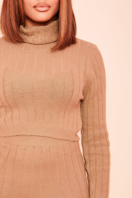 Camel Fuzzy Roll Neck Crop Top- Eboni - KATCH ME