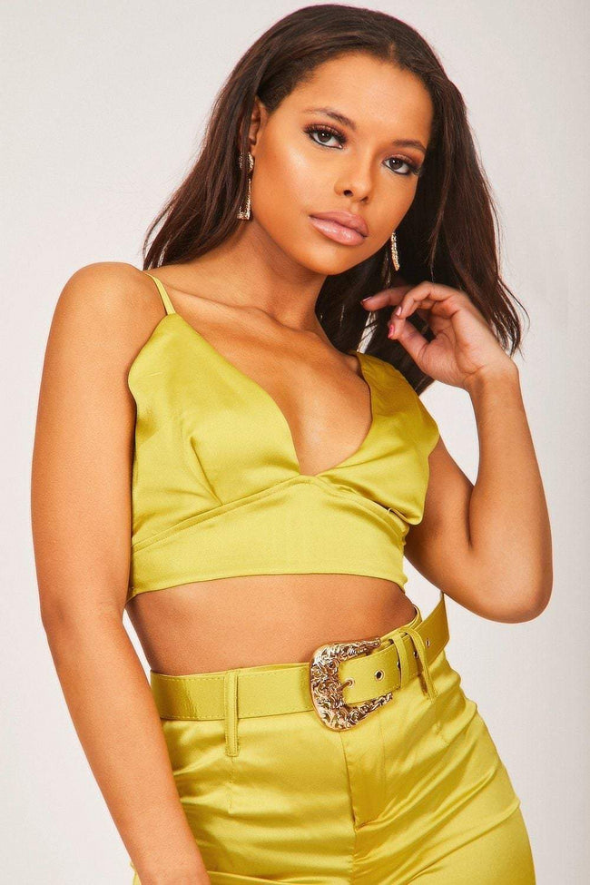 Chartreuse Yellow Wide Leg Satin Trousers With Western Belt - KATCH ME