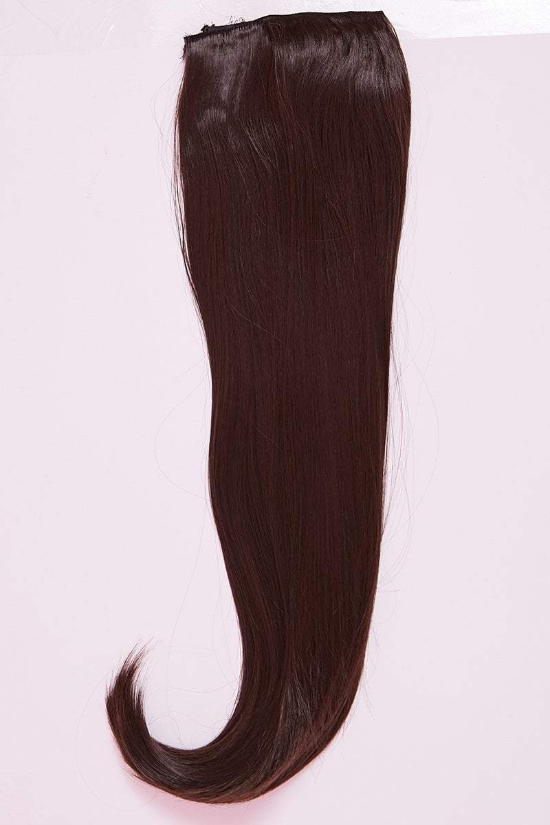 "Chocolate Brown 24"" Synthetic Straight Clip In Hair Extensions- Luna - KATCH ME"