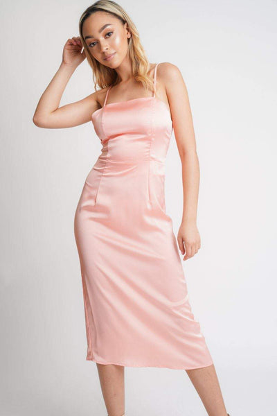 Coral Satin Midi Dress - KATCH ME
