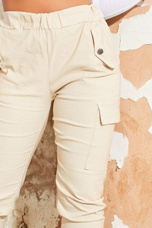 Cream Cargo Pant Trousers - Ainsley - KATCH ME