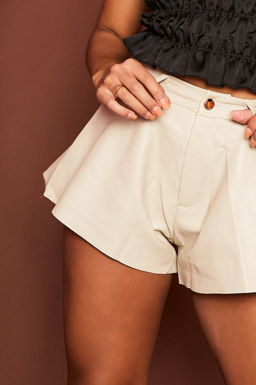 Cream Flared Faux Leather Shorts - Adalynn - KATCH ME