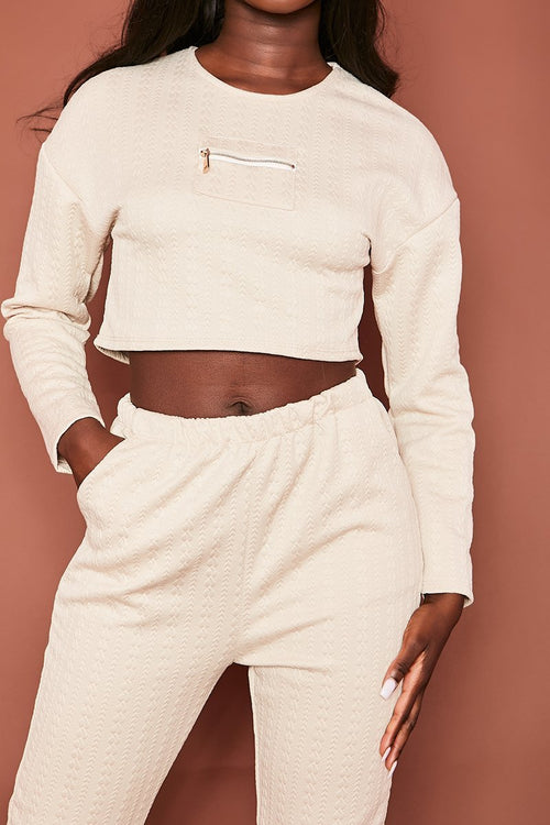Cream Quilted Jogger & Crop Co-Ord - Charmaine - KATCH ME