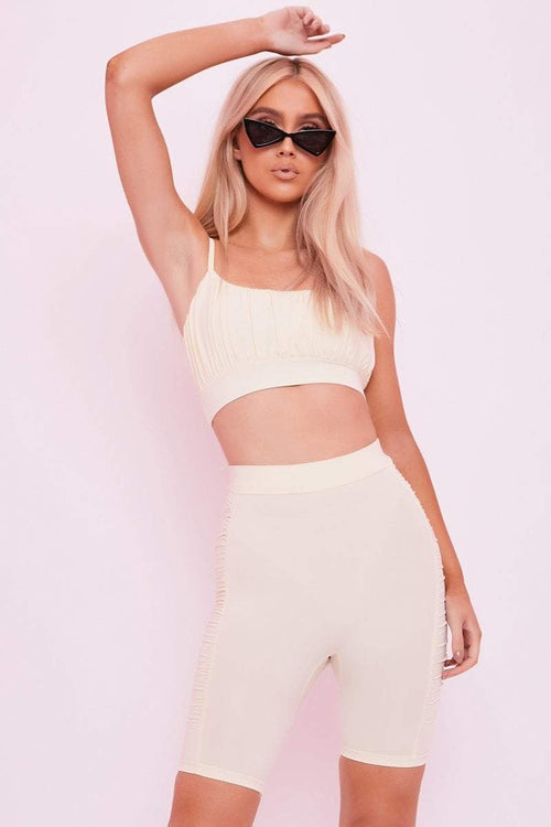 Cream Ruched Crop Top - Danica - KATCH ME