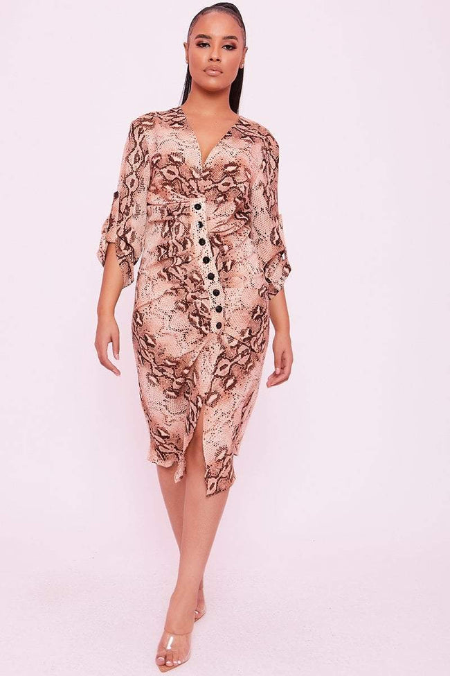 Cream Ruched Front Button Snake Print Midi Dress - Ophelia - KATCH ME