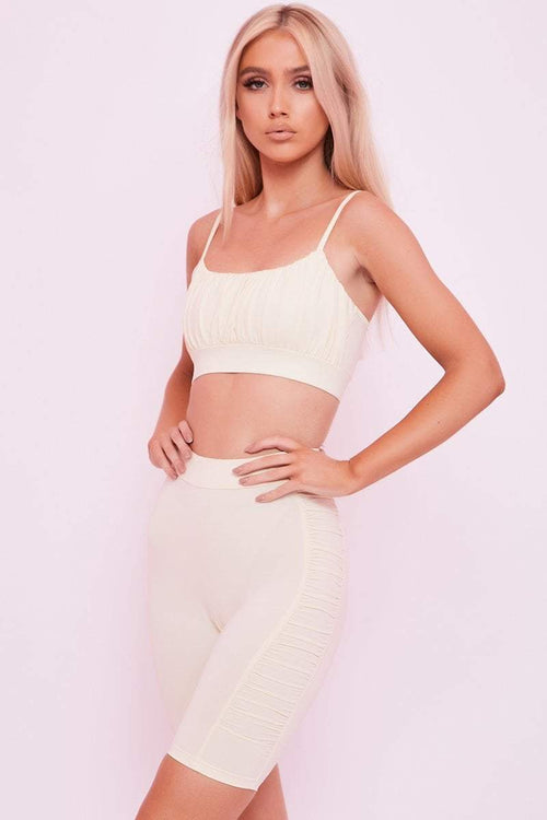 Cream Ruched Side Cycling Shorts - Cassie - KATCH ME