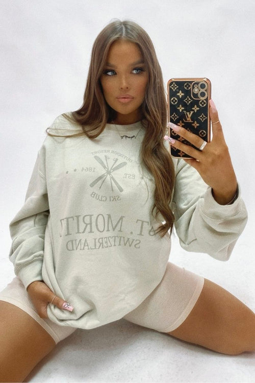 Cream St Moriz Oversized Sweatshirt - Briana - KATCH ME