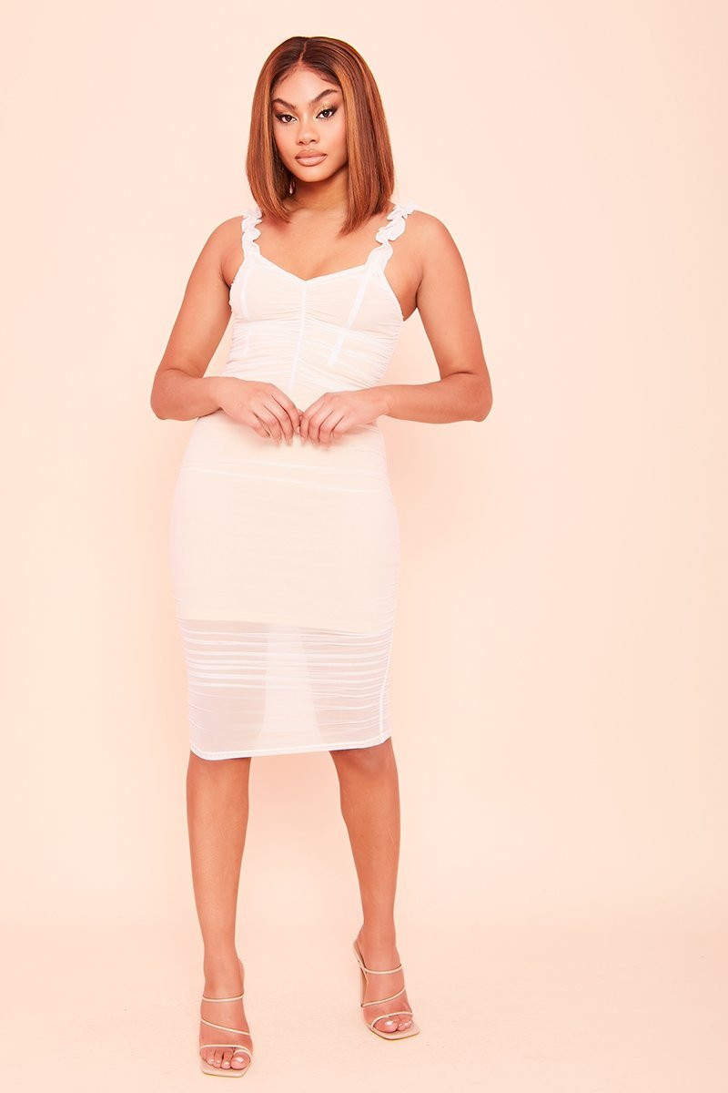 Cream Tulle Overlay Bodycon Midi Dress- Luna - KATCH ME