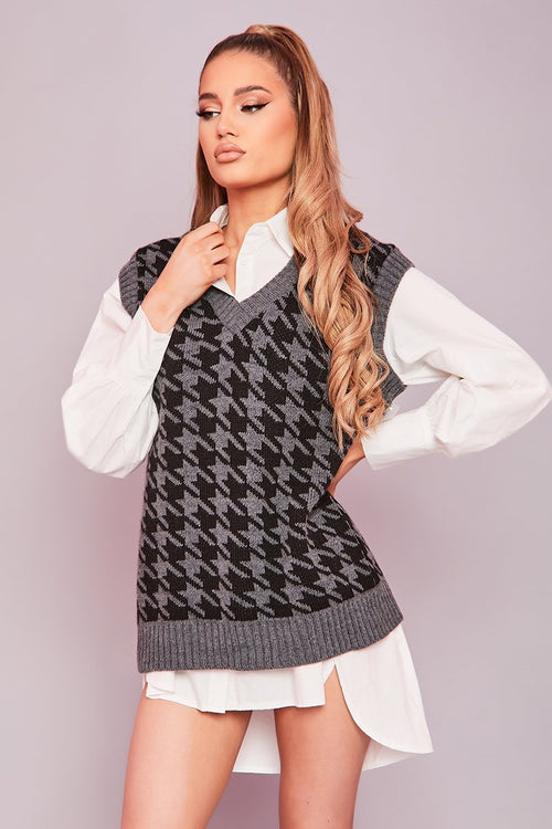Dark Grey & Black Oversized Knit Vest- Claude - KATCH ME