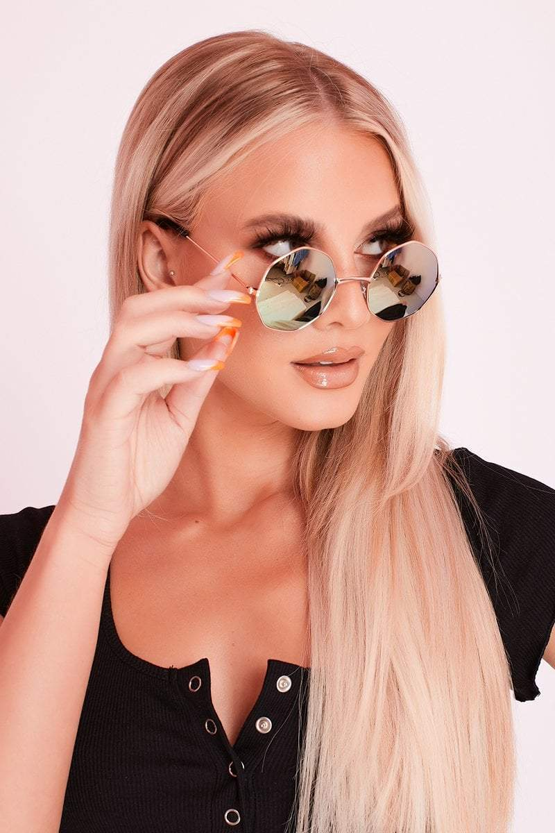 Gold Frame Green Ombre Hexagon Shape Sunglasses- Lillian - KATCH ME