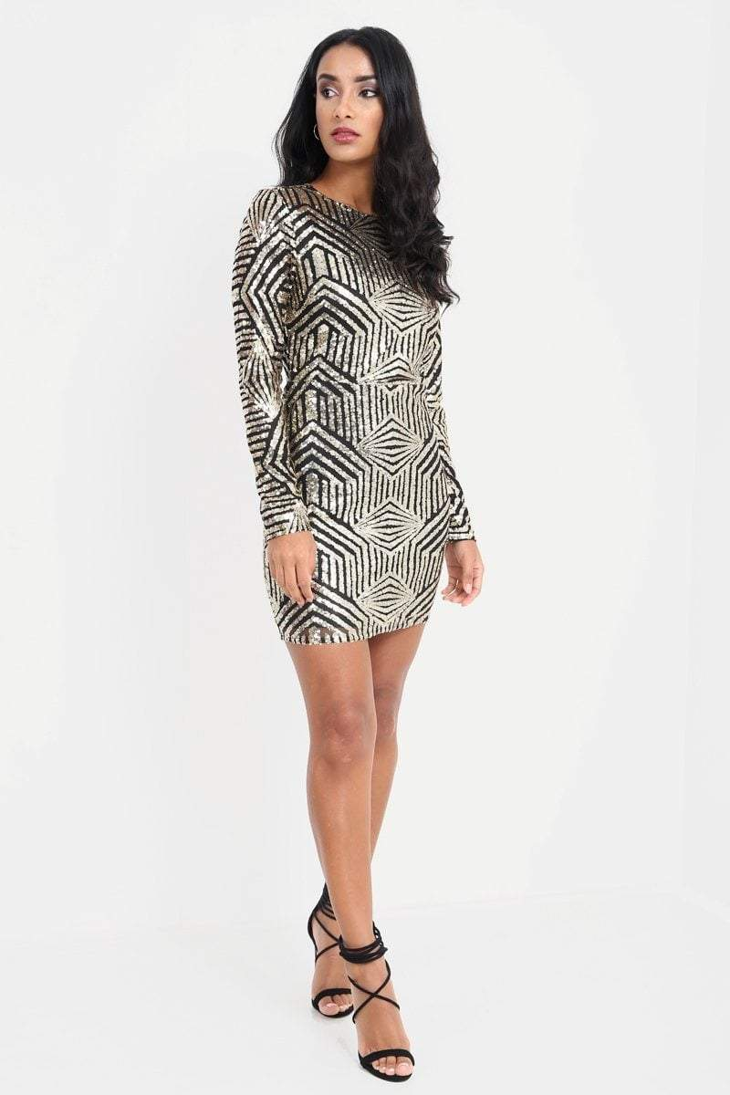 Gold Long Sleeve Sequin Open Back Dress - KATCH ME