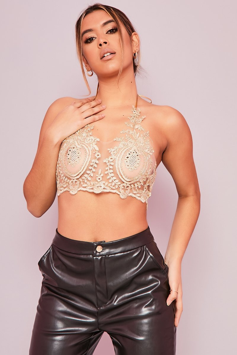 Gold Sheer Halterneck Crop Top- Lilja - KATCH ME