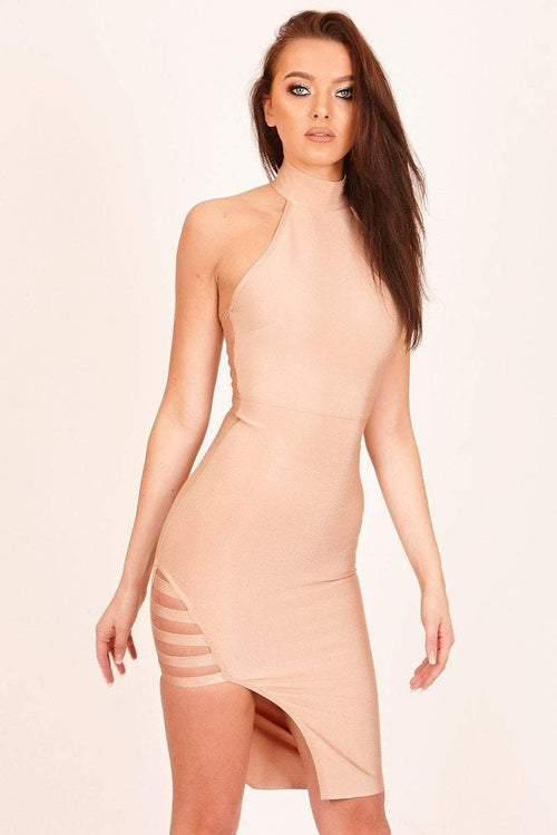 Gold Side Split Bandage Dress - KATCH ME