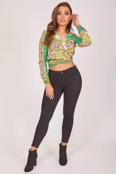 Green Baroque Print Wrap Front Crop Top - KATCH ME