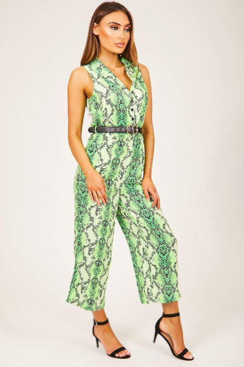Green Button-Up Snake Print Jumpsuit - KATCH ME