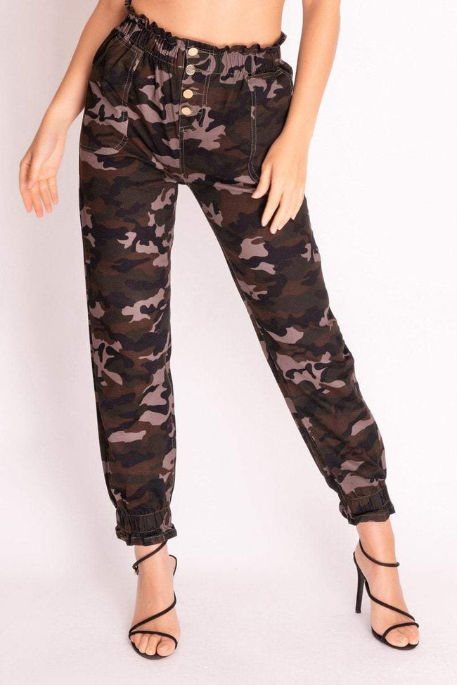 Green Camouflage Button Up Trousers - KATCH ME