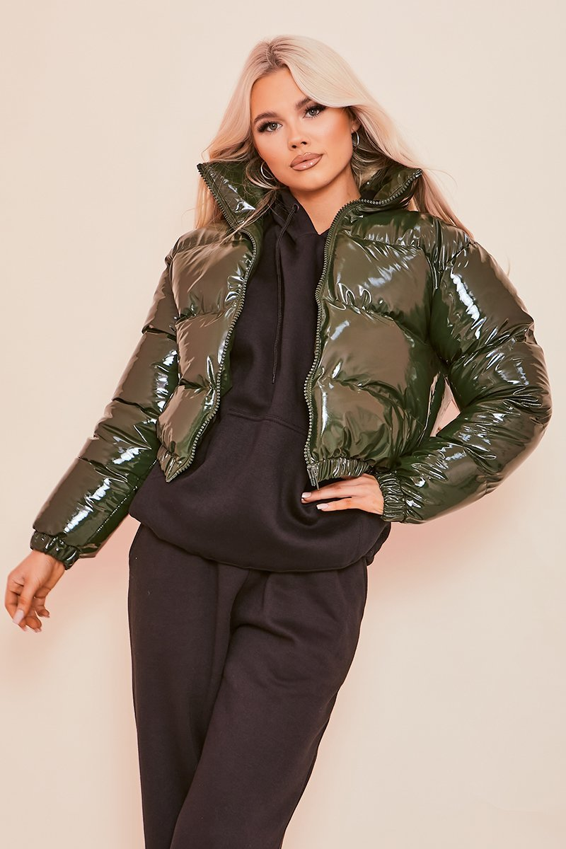 Green Cropped PU Bomber Jacket - KATCH ME
