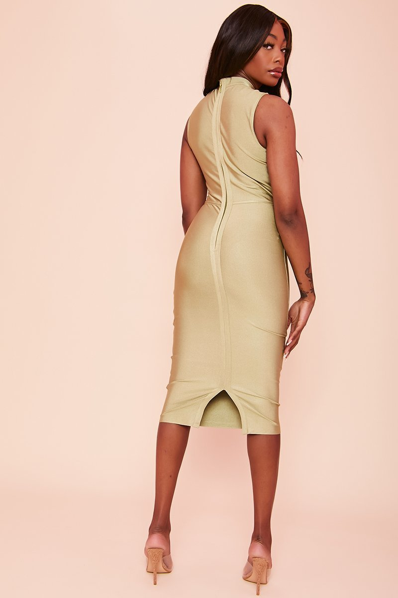 Green High Neck Bodycon Dress - Sage - KATCH ME