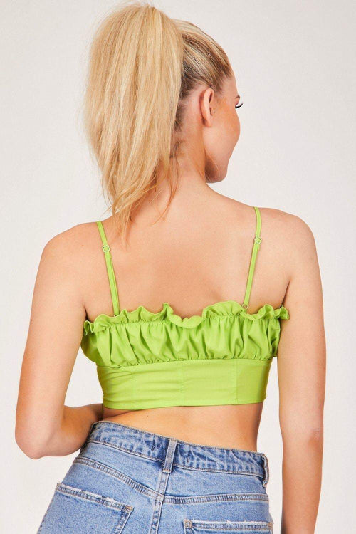 Green Square Neck Frill Crop Top - KATCH ME