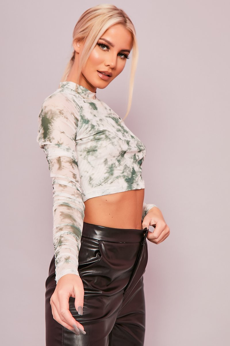 Green Tie Dye Mesh Crop Top - Julianna - KATCH ME
