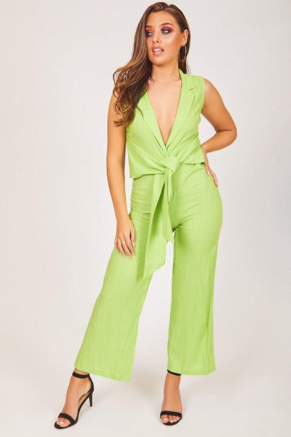 Green Tie Front Sleeveless Jumpsuit - KATCH ME