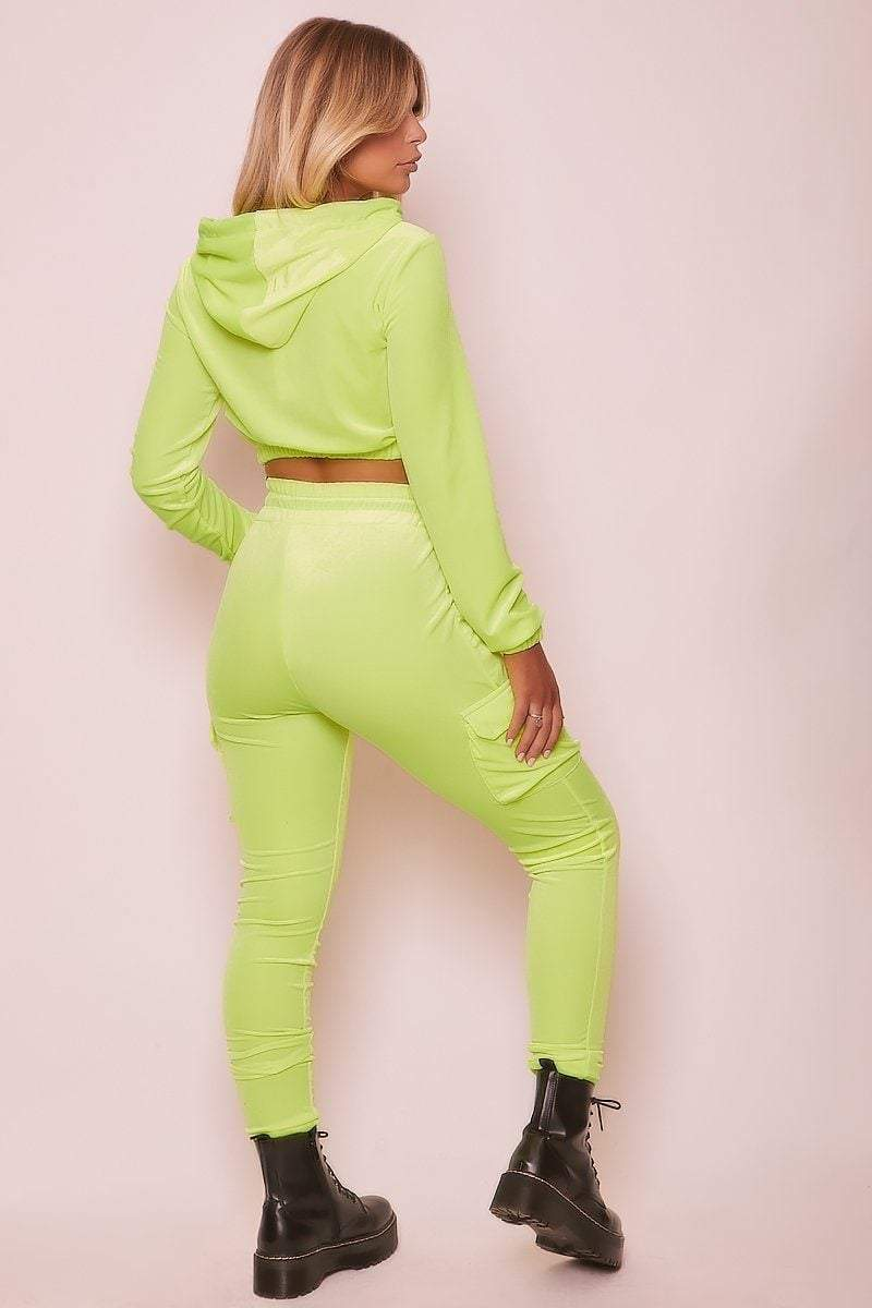 Green Velour Drawstring Joggers. - KATCH ME