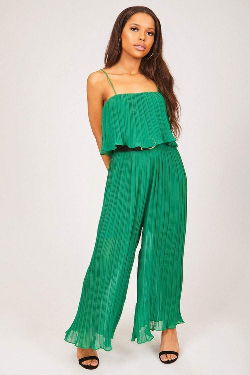 Green Wide Leg Sheer Crepe Jumpsuit - KATCH ME