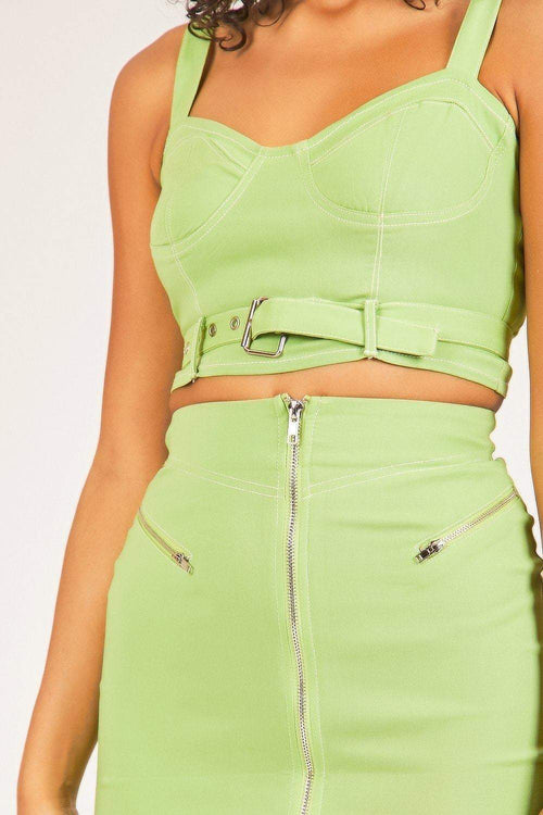 Green Zip Front Mini Skirt - KATCH ME