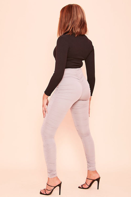 Grey All Over Ruched Leggings- Issy - KATCH ME