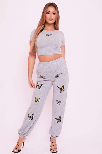 Grey Butterfly Crop Top - Laura - KATCH ME