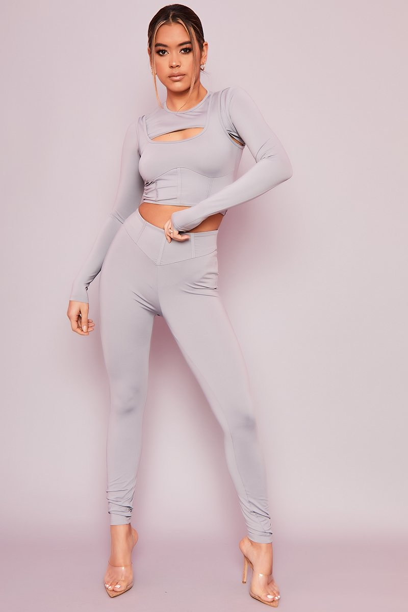 Grey Corset Leggings- Natty - KATCH ME