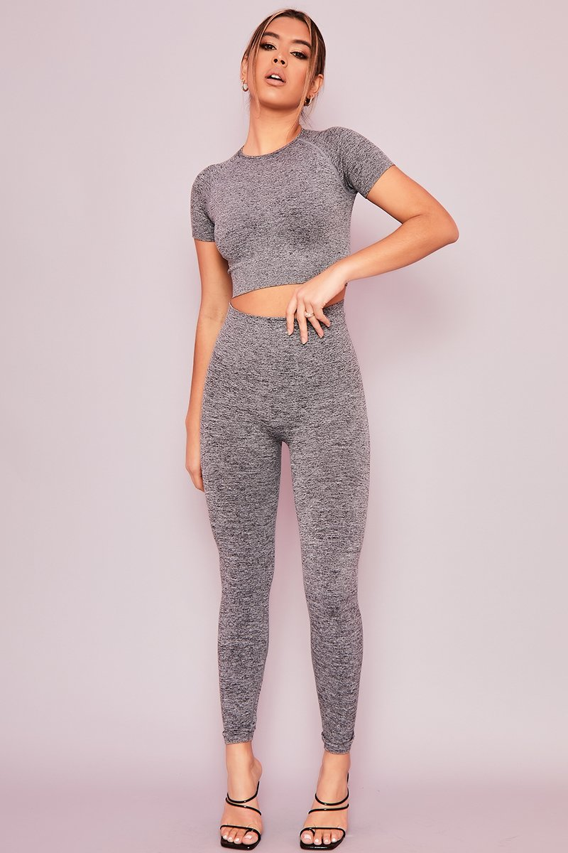 Grey Crop Top & Leggings Set- Teneisha - KATCH ME