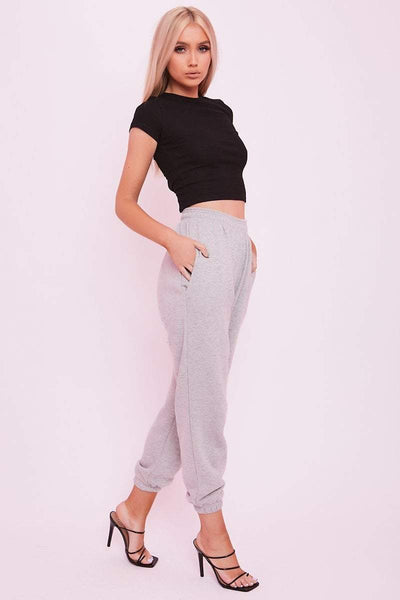 Grey Cuffed Joggers- Phillipa - KATCH ME