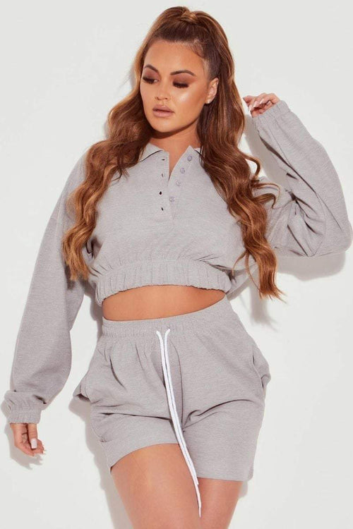 Grey Jersey Polo Top & Shorts Co-ord- Therese - KATCH ME