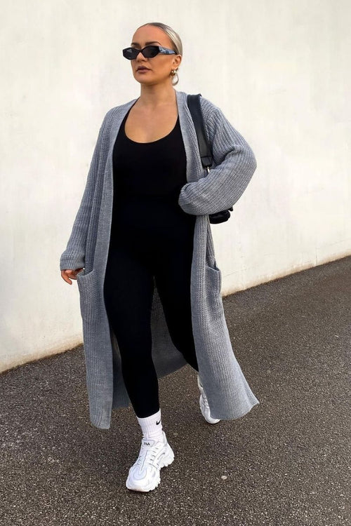 Grey Knitted Long Cardigan - Kaelin - KATCH ME
