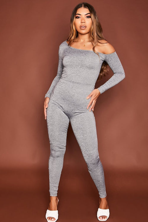 Grey Off The Shoulder Jumpsuit - Tonya - KATCH ME