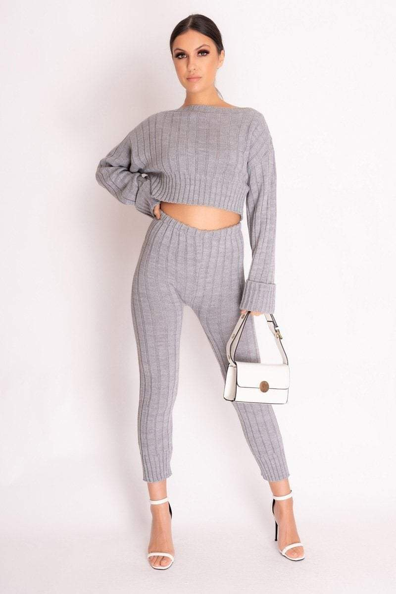 Grey Rib Knit Leggings - KATCH ME