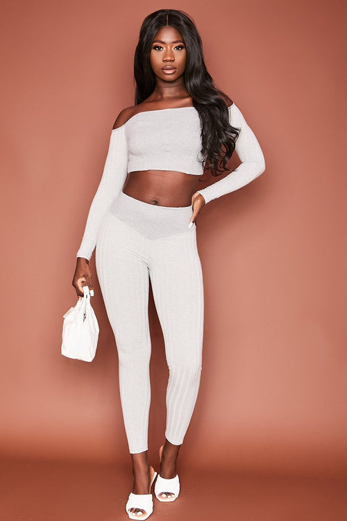 Grey Ribbed Long Sleeve Co-Ord Set - Zosia - KATCH ME