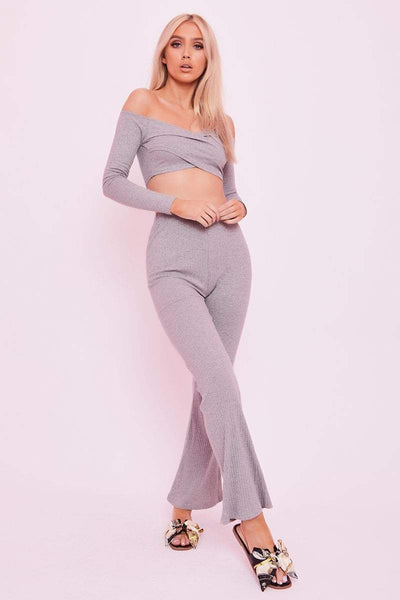 Grey Ribbed Wide Leg Trousers - Jolene - KATCH ME