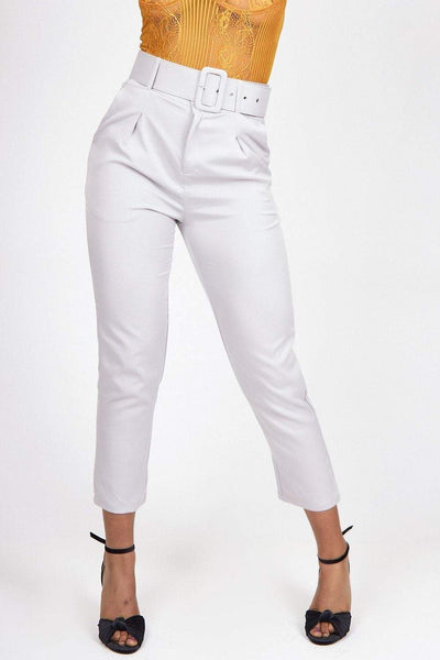 Grey Tailored Belted Cigarette Trousers - KATCH ME