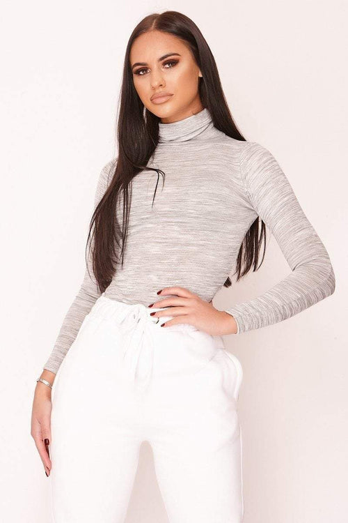 Grey Turtle Neck Bodysuit - KATCH ME