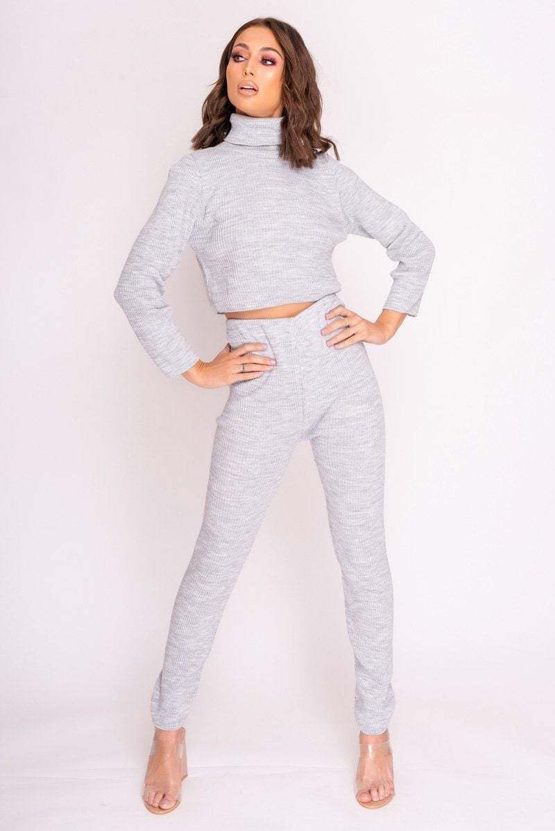 Grey Turtle Neck Loungewear Set - KATCH ME
