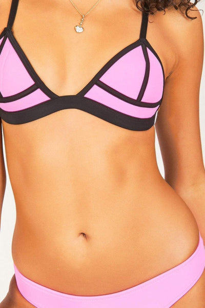 Hot Pink & Black Triangle Bikini Set - KATCH ME