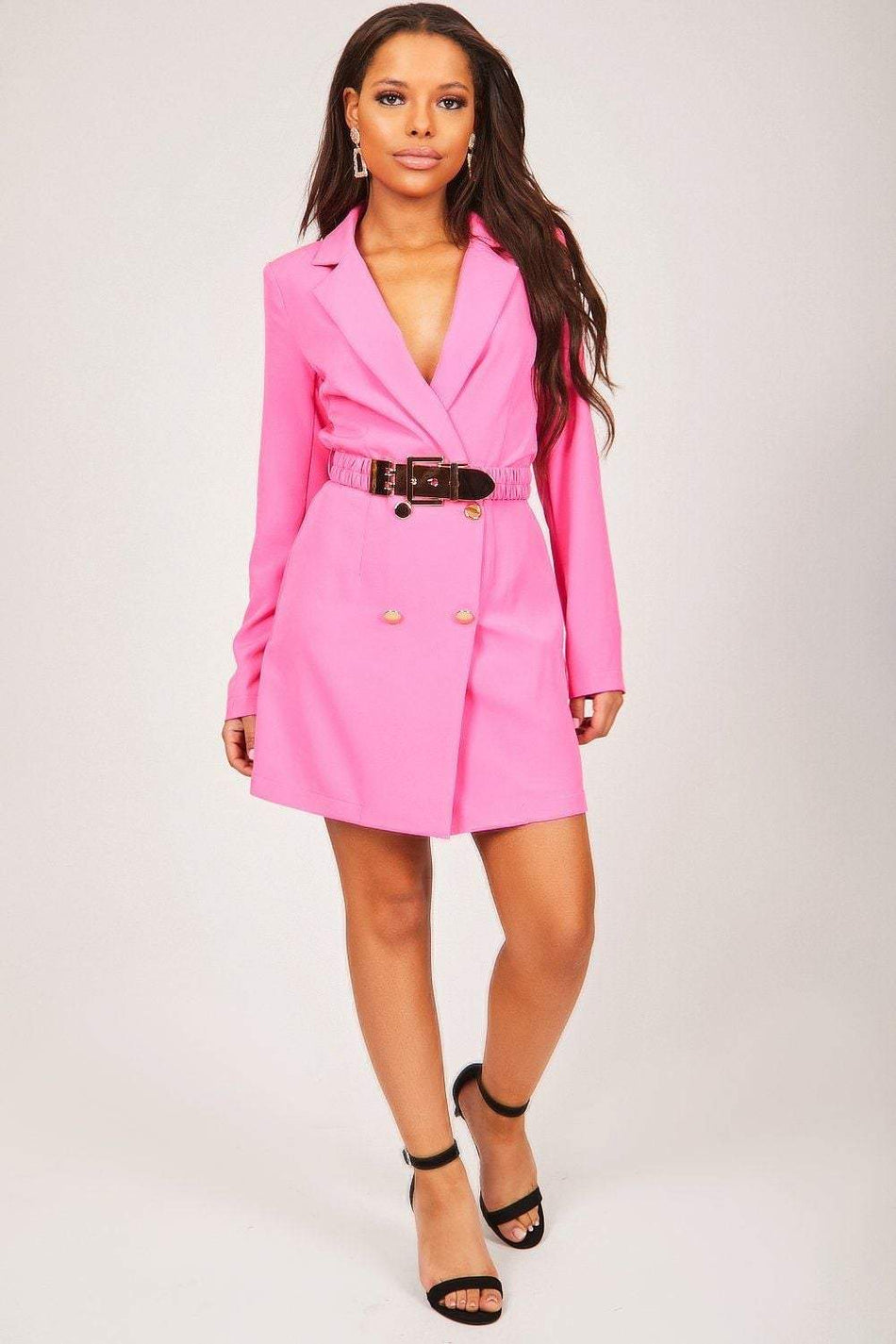 Hot Pink Blazer Dress With Gold Belt - KATCH ME