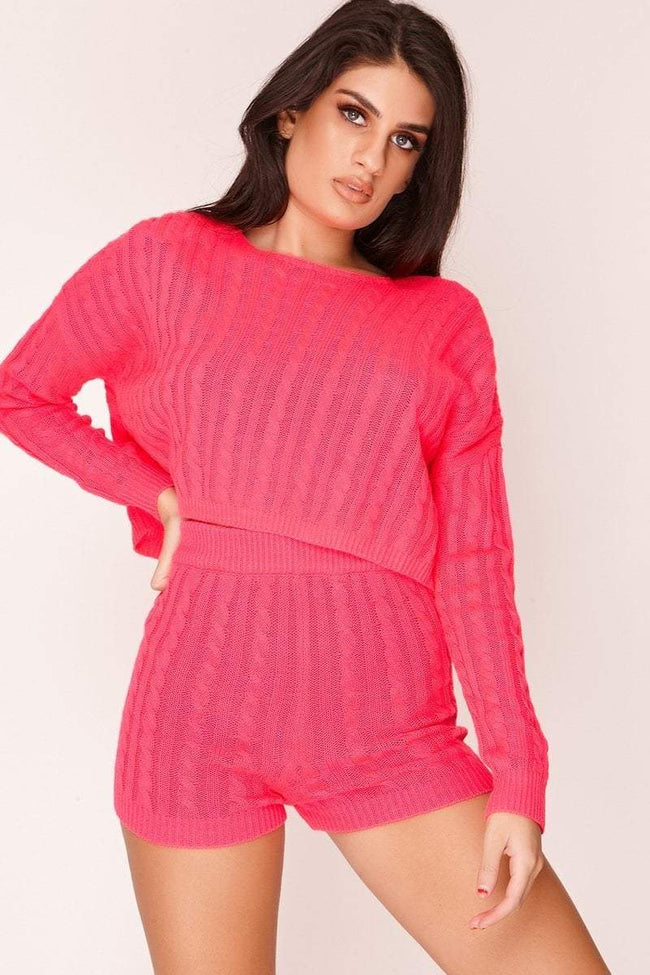 Hot Pink Cable Knit Cropped Jumper - KATCH ME