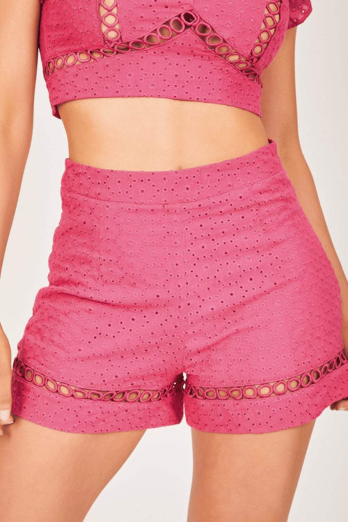 Hot Pink Cut-Out Eyelet Shorts - KATCH ME