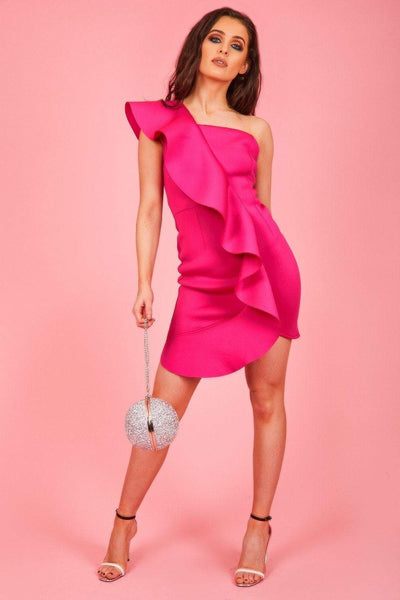 Hot Pink Neoprene Ruffle Bodycon Mini Dress - KATCH ME