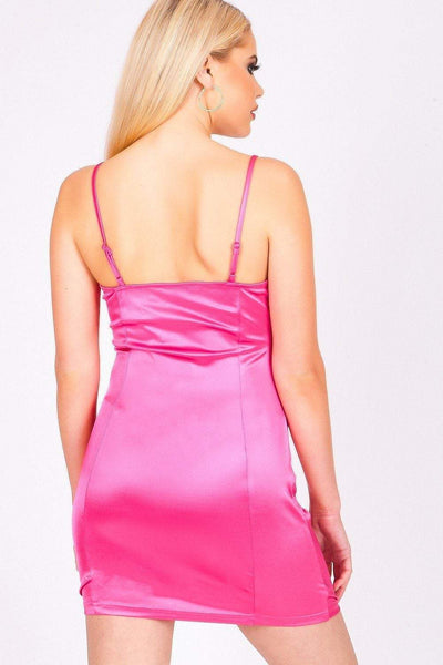 Hot Pink Ruched Front Diamante Zip Mini Dress - KATCH ME