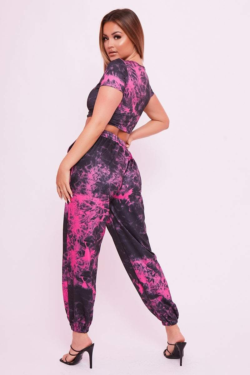 Hot Pink Tie Dye Joggers - Tamika - KATCH ME